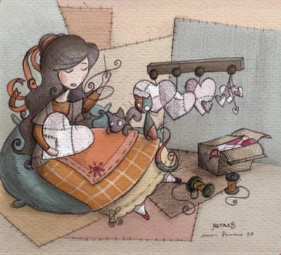 Dedal, telas y máquina de coser.....